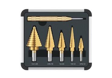 5Pcs HSS Spiral Step Grooved Drill Bit Set Titanium Coated Step Drill Bit