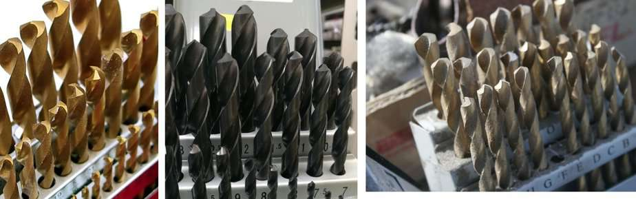 Gold oxide drill bits grouped and lined up