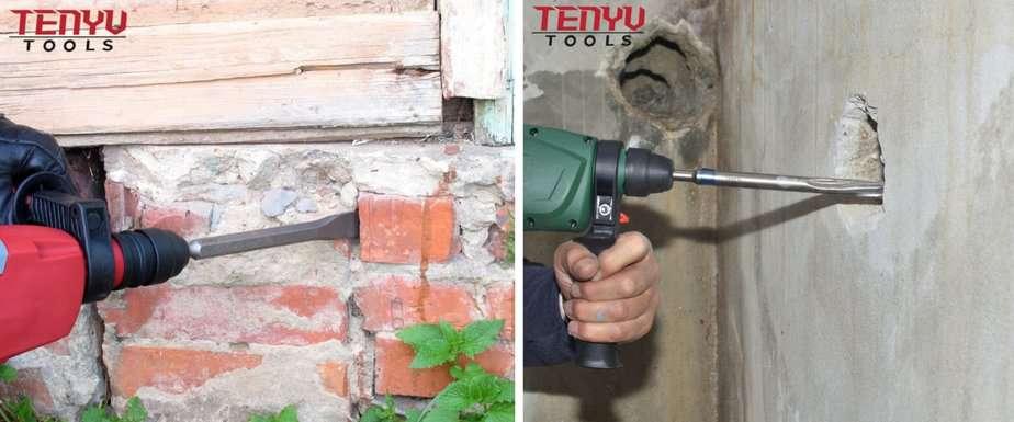 Applications of Tenyu Tools' SDS Chisels